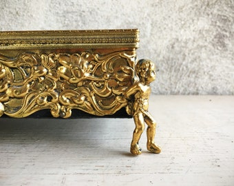 Vintage Gold Tone Ormolu Tissue Box with Footed Angel Legs, French Country Bedroom Bathroom Decor