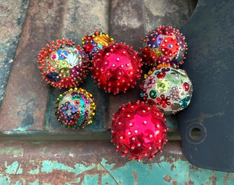 Seven Vintage Handmade Pushpin Ornaments of Pins and Sequins Pushed into Styrofoam Balls