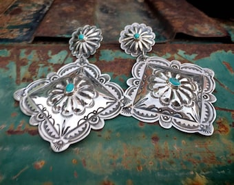 Large Sterling Silver Concho Turquoise Earrings by Navajo Vince Platero, Native American Jewelry