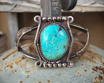 Early Natural Turquoise Cuff Bracelet for Women or Men, Navajo Native American Indian Jewelry