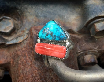 Morenci Turquoise and Spiny Oyster Ring Size 7.75, Navajo Native American Indian Jewelry