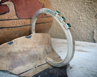 Heavy Sterling Silver Cuff Bracelet with Aqua Blue-Green Crystals, Bohemian Stacking Bracelet