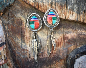 Sterling Silver Channel Inlay Turquoise Earrings for Women Native American Indian Jewelry, Feather Earrings Southwestern, Girlfriend Gift