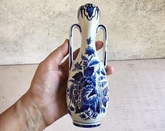 Royal Delft De Porceleyne Fles Blue Floral Small Amphora Vase, Vintage Delftware Pottery, Peony Flower