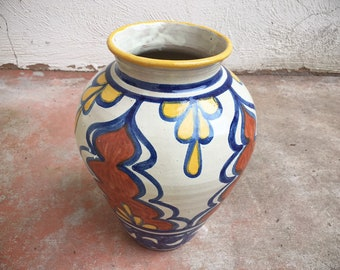 Vintage Talavera Vase Tall Urn Majolica Ceramics, Mexican Pottery, Southwestern Decor, Rustc Modern Home
