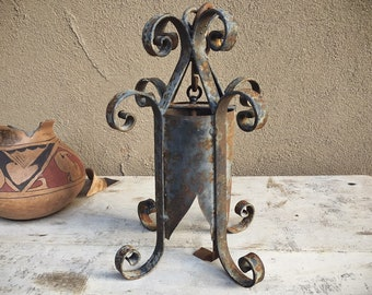 Mexican Patio Decor Metal (No Glass) Hanging Lantern, Spanish Revival Light Fixture