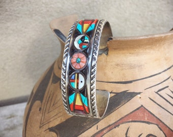 Vintage Signed Sterling Silver Black Onyx Pink Coral Turquoise Cuff Bracelet for Women, Native American Jewelry