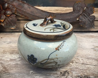 Small Mexican Pottery Lidded Bowl with Flower and Butterfly Design by Xochiquetzal