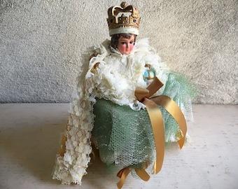 Vintage Chalkware Statue Holy Infant of Prague Religious Decor, Child Jesus with Lace Cape