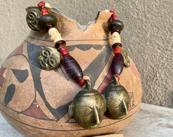 Vintage Naga Bronze Double Head Necklace with Carved Bone and Glass Trade Beads, Tribal Jewelry