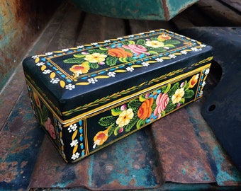 Small Narrow Vintage Mexican Lacquer Painted Wood Box with Floral Design, Mexican Folk Art