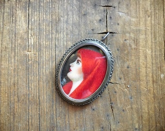 1930s Saint Fabiola miniature portrait pendant brooch girl in red scarf Patron Saint of Abused Women