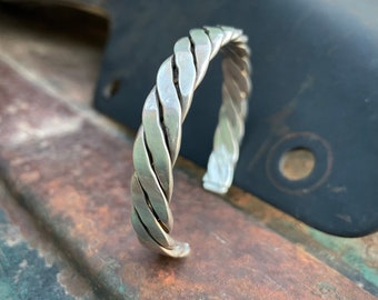 32g Braided Sterling Silver Stacking Cuff Bracelet for Men or Women, Taxco Mexican Jewelry