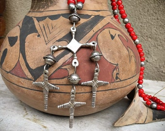 Vintage Yalalag Sterling Silver Cross Pendant Necklace with Whiteheart Red Trade Beads, Mexican Indigenous Jewelry