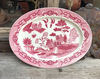 Vintage Red Willow Platter Made in Occupied Japan, Red on White Transferware, Cottage Decor, Large Oval Plate Serving Tray