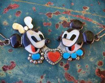 Zuni Carlos and Paula Lamy Mickey Minnie Mouse Necklace, Native America Indian Inlay Jewelry
