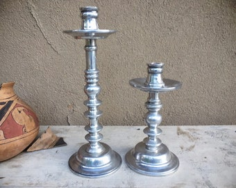 Pair of Pewter Candlestick Holders Silver Colored Taper Candleholders, Rustic Home Decor