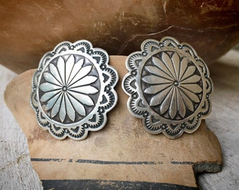 Vintage Navajo Sterling Silver Concho Post Earrings for Women, Native American Indian Jewelry