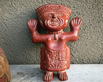 Vintage Primitive Folk Art Pottery Figurine Pre-Colombian Reproduction Mayan or Aztec Warrior