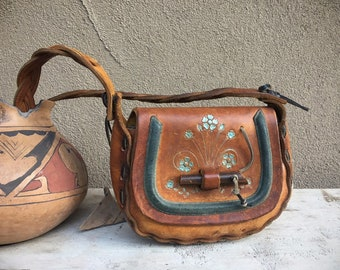 1970s Mexican Tooled Leather Purse Wood Slip Through Closure and Braided Strap, Hippie Shoulder Bag