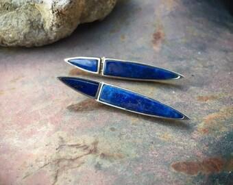Vintage Modernist Lapis Lazuli Post Earrings for Women, Contemporary Long Earrings Blue Stone