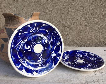 Two Talavera Saucers or Salad Plates Blue and White Mexican Pottery, Southwestern Mexican Decor