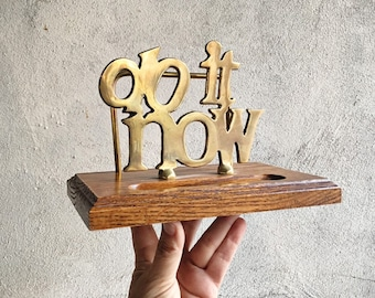 """Vintage Large Brass and Wood """"Do It Now"""" Office Desk Organizer, File Stand, Procrastinator Gift"""