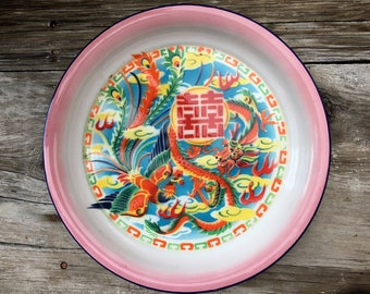 Vintage Enamelware Plate Tray Chinese Hand Painted Colorful Dragon Design Made in Kwangchow China