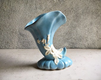 Vintage Baby Blue Weller Pottery Cornucopia Vase, Horn of Plenty Icon of Abundance, Powder Blue Cameo