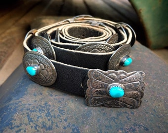 93gm Small Narrow Women's Navajo Concho Belt Sterling Silver and Turquoise, Native American Western