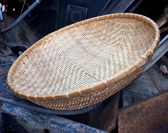 Large Winnowing or Sifting Basket Earthy Farmhouse Decor, Herb Basket Collecting, Primitive Decor