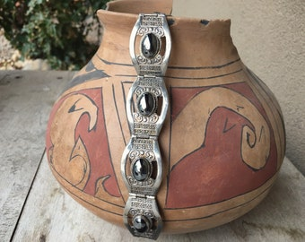 "7"" Panel Bracelet with Hematite Stones, Vintage Taxco Mexican Silver Jewelry for Women Her"
