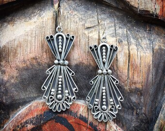 Signed Navajo Jewelry Sterling Silver Dangle Earrings for Women, Native American Indian Jewelry