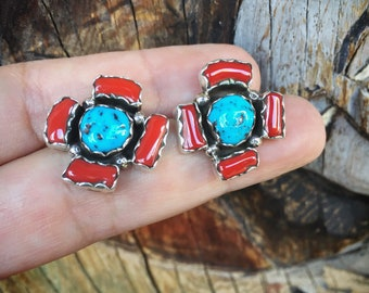 Simple Coral Turquoise Earrings for Women, Navajo Native American Indian Jewelry, Vintage Turquoise