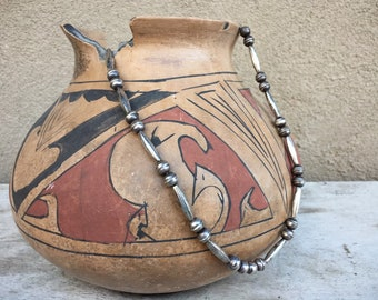 """Vintage Silver Bead Necklace 26"""" Long Round and Melon Beads, Native American Indian Jewelry"""