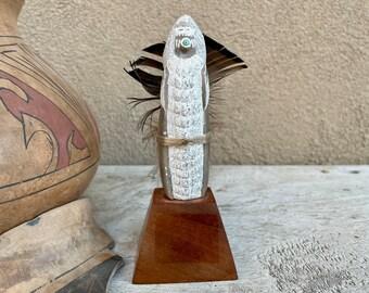 Small Hand Carved Pueblo Corn Maiden Fetish on Stand by Jemez Paul Toya Utah Alabaster, Native Art