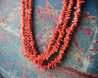 Three Strand Natural Coral Choker Necklace for Women, Native American Indian Jewelry