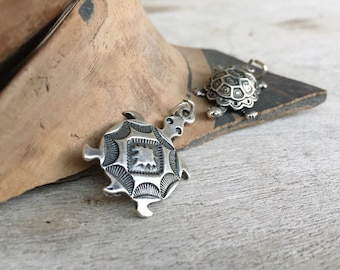 Vintage Sterling Silver Turtle Pendant Charms for Bracelet or Necklace, Tortoise Gift for Nature Lover or Slow Moving Mom Grandma