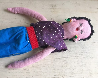 Vintage Cloth Doll from Mexico Folk Art, Handmade Cloth Body Clothing Rag Doll, Primitive Decor