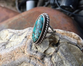 Oval Spiderweb Turquoise Ring for Women Size 5.75 Southwestern Native American Indian Jewelry