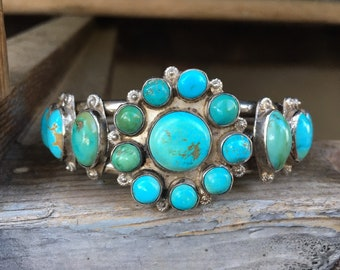 1930s Natural Turquoise Stone Cluster Cuff Bracelet for Men Women, Navajo Native American Jewelry