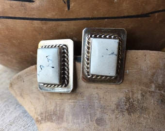 Vintage Taxco Rectangular Howlite Sterling Silver Post Earrings for Women, Mexican Taxco Jewelry