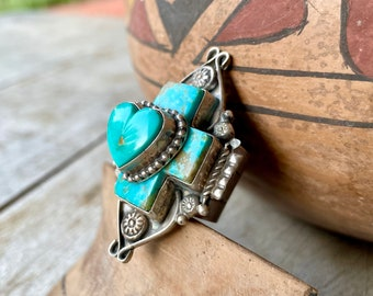 Navajo Rosella Paxson Layered Turquoise Cross and Heart Ring Size 6.75, Native American Jewelry