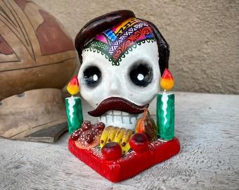 Ceramic Skull Skeleton with Toupee Moustache Day of Dead Altar Figurine, Oaxaca Mexican Folk Art