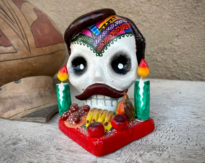 Featured listing image: Ceramic Skull Skeleton with Toupee Moustache Day of Dead Altar Figurine, Oaxaca Mexican Folk Art