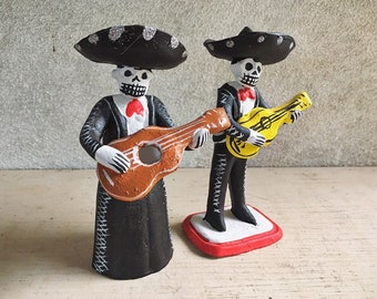 Ceramic Mariachi Day of Dead Couple Man and Woman, Mexican Pottery Folk Art, Southwestern Gift