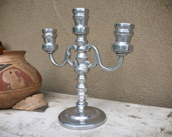 Pewter Candelabra Three Candlestick Holder Silver Decor, Rustic Home Farmhouse, Christmas Decoration