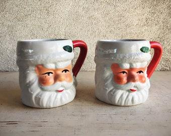 Two Vintage Santa Face Ceramic Mugs, Santa Decor, Christmas Decoration, Santa Mugs