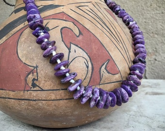 Charoite Bead Necklace for Women, Santo Domingo Native American Indian Jewelry Southwestern Gifts