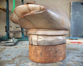 Antique Wooden Hat Form Millinery Puzzle Block, Industrial Steampunk Decor, Antique Shop Display